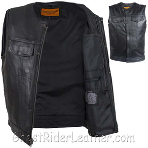 Mens Leather Motorcycle Club Vest with Zipper and No Collar / SKU GRL-MV8008-ZIP-SS-DL