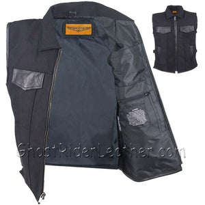 Mens Canvas Single Panel Motorcycle Vest With Gun Pockets - SKU GRL-MV8010-CV-DL