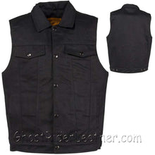 Mens Black Denim Motorcycle Club Vest / SKU GRL-MV8020-BD-DL