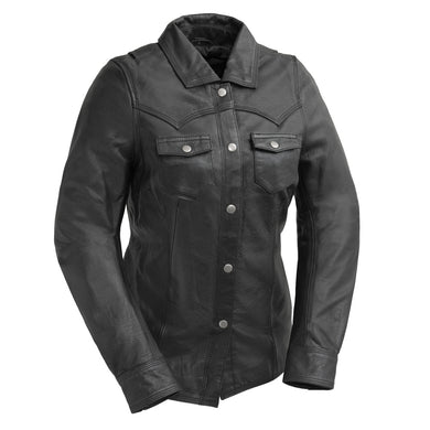 Onyx - Women's Leather Shirt With Concealed Carry Pockets - SKU LL-FIL118SC-FM - Leather Lollipop