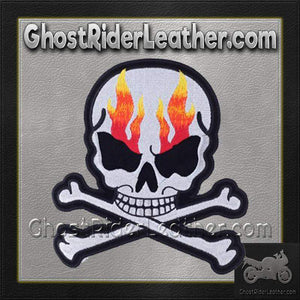 Silver Metallic Skull Crossbones with Flames Patch / SKU GRL-PAT-A15-DL