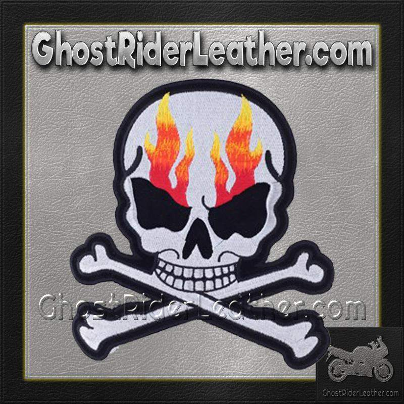 Silver Metallic Skull Crossbones with Flames Patch / SKU GRL-PAT-A15-DL - Leather Lollipop