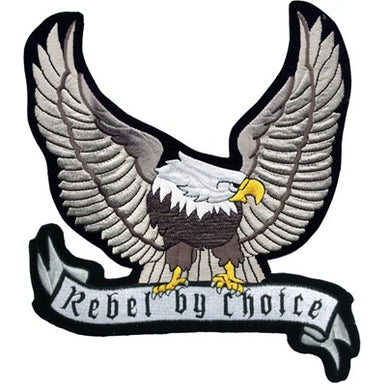 Silver Eagle with Rebel By Choice Banner Patch - SKU LL-PAT-A24-DL - Leather Lollipop
