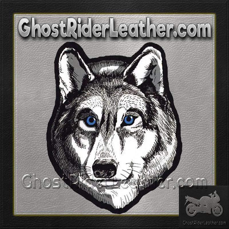 Large Wolf Head with Blue Eyes Patch / SKU GRL-PAT-A47-DL - Leather Lollipop