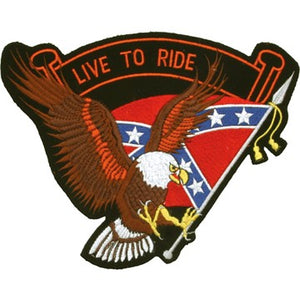 Eagle with Rebel Flag and Live To Ride Banner Patch - SKU LL-PAT-B109-DL
