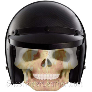 Real Carbon Fiber DOT Open Face 3/4 Motorcycle Helmet - SKU GRL-RM-68-HI - Leather Lollipop