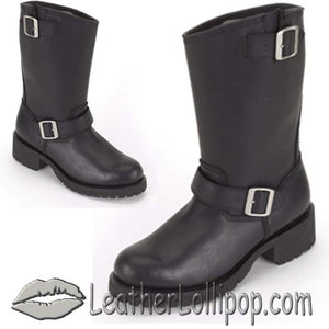 Ladies Biker Leather Motorcycle Boots - Double Buckle - SKU GRL-S11-LADIES-DL