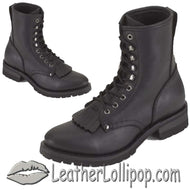 Mens Biker Leather Motorcycle Boots - Lace Up Front With Tassles - SKU GRL-S14-REG-DL