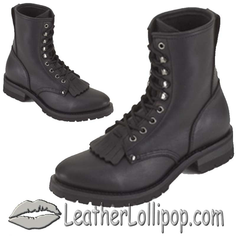 Ladies Biker Leather Motorcycle Boots - Lace Up Front With Tassles - SKU LL-S14-LADIES-DL - Leather Lollipop