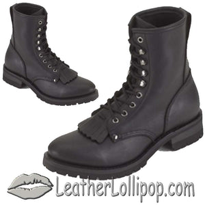 Mens Biker Leather Motorcycle Boots - Lace Up Front With Tassles  - Wide Width - SKU GRL-S14-EEE-DL