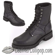 Mens Biker Leather Motorcycle Boots - Lace Up Front - Wide Width - SKU GRL-S15-EEE-DL