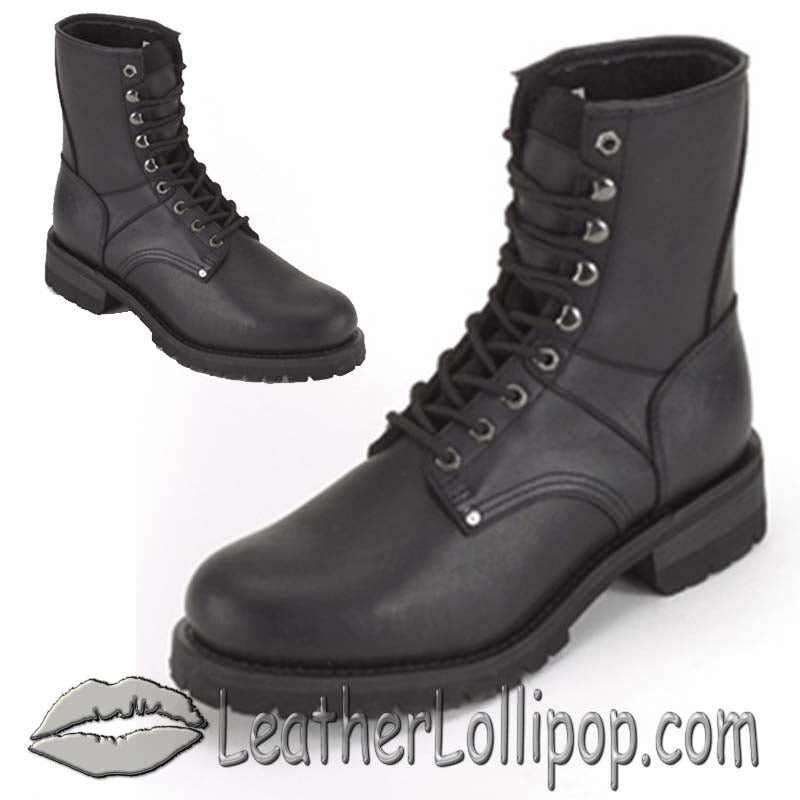 Ladies Biker Leather Motorcycle Boots - Lace Up Front - SKU GRL-S15-LADIES-DL