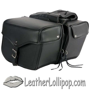 PVC Motorcycle Saddlebags Single Buckle Design - SKU LL-SD1483-PV-DL