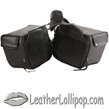 PVC Motorcycle Saddlebags Single Buckle Design - SKU LL-SD1483-PV-DL - Leather Lollipop