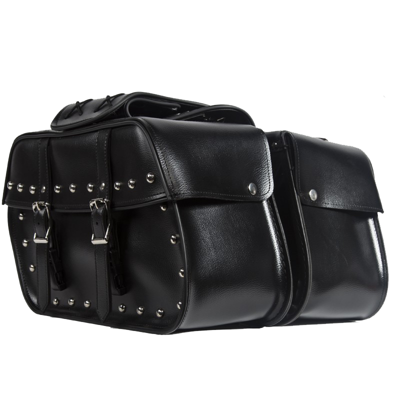 PVC Motorcycle Saddlebags With Studs - SKU LL-SD4079-STUD-PV-DL - Leather Lollipop