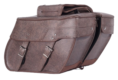 Brown PVC Motorcycle Slanted Saddlebags - SKU LL-SD4082-BROWN-PV-DL