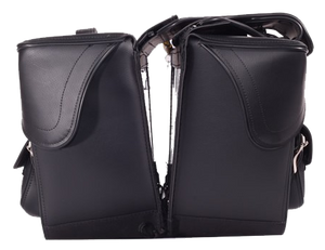 Black PVC Motorcycle Slanted Saddlebags with Pockets - SKU LL-SD4085-NS-PV-DL