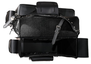 Black PVC Motorcycle Slanted Saddlebags with Studs and Pockets - SKU LL-SD4085-PV-DL