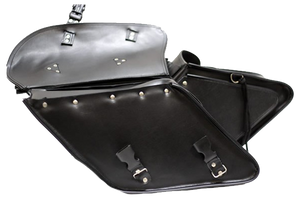 Black PVC Motorcycle Saddlebags For Harley Davidson Dyna - SKU LL-SD4088-DYNA-PV-DL