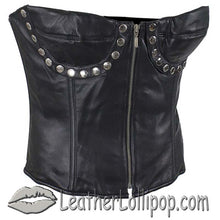 Leather Corset With Zip Front and Studs Design - SKU LL-SK1009-07-DL