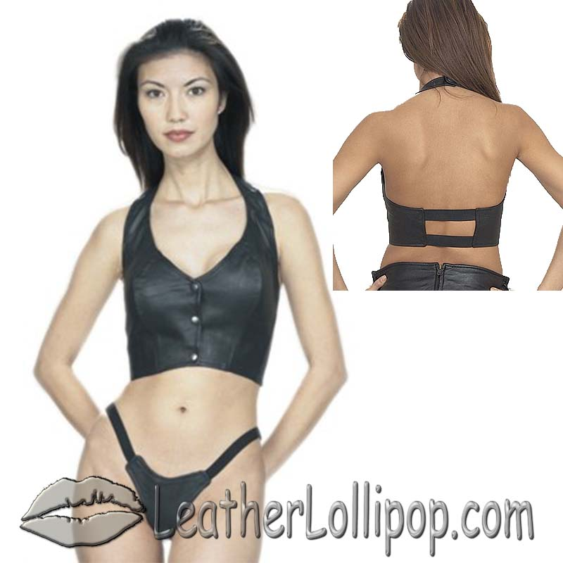 Ladies Leather Halter Top With Elastic Back - SKU LL-SK900-DL