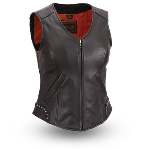 Taylor - Women's Motorcycle Leather Vest - Leather Lollipop