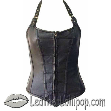 Leather Corset With Zip Front and Removable Halter Straps - SKU LL-VC1316-VL - Leather Lollipop