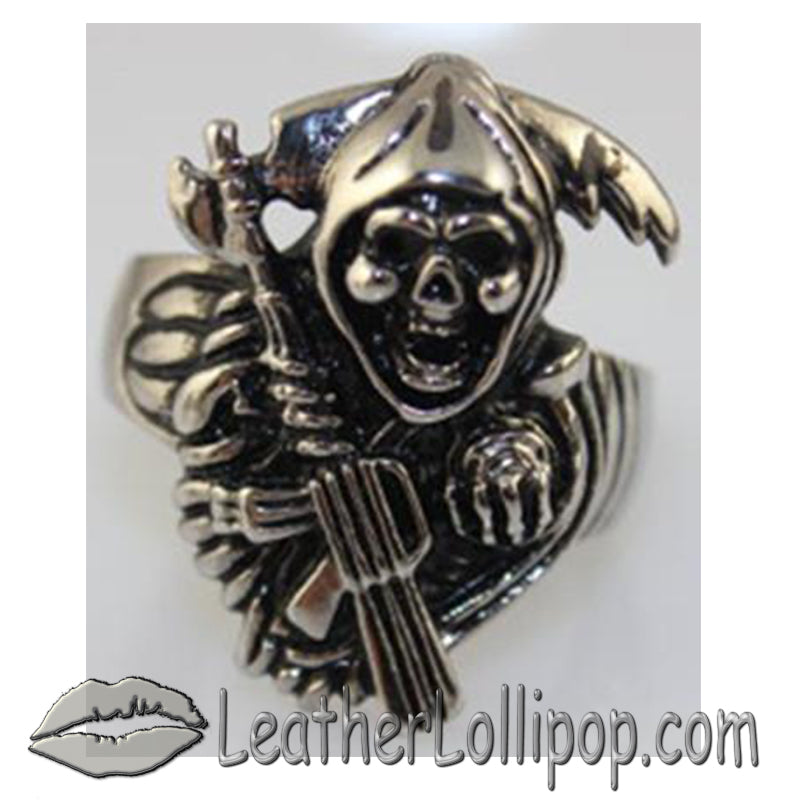 Mens Stainless Steel Tattoos Grim Reaper Ring - SKU LL-VJ1030-VL - Leather Lollipop