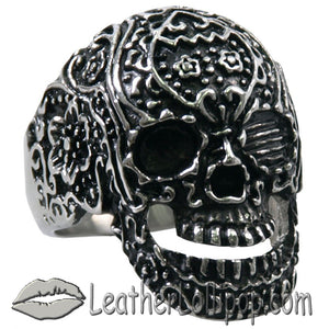 Mens Stainless Steel Tattoos Gone Wild Skull Ring - SKU LL-VJ1040-VL - Leather Lollipop