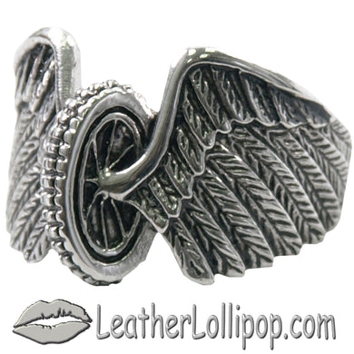 Mens Stainless Steel Winged Wheel Ring - SKU LL-VJ1041-VL
