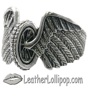 Mens Stainless Steel Winged Wheel Ring - SKU LL-VJ1041-VL - Leather Lollipop