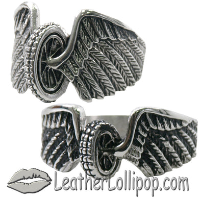 His and Hers Stainless Steel Winged Wheel Rings - SKU LL-VJ1042-VJ1041-VL - Leather Lollipop