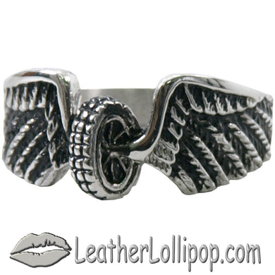 Ladies Stainless Steel Winged Wheel Ring - SKU LL-VJ1042-VL - Leather Lollipop