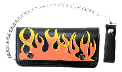 Black Leather Flame Wallet with Chain - SKU LL-WALLET1-DL