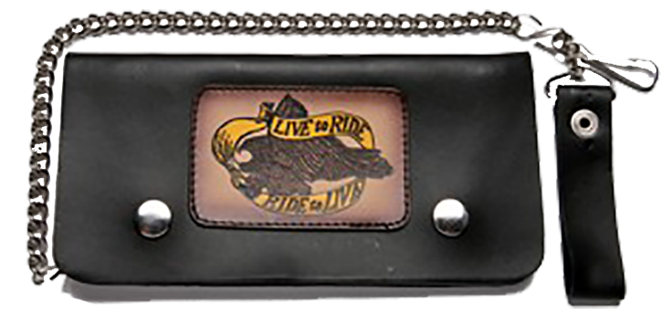 Live To Ride Leather Motorcycle Chain Wallet - SKU LL-WALLET2-DL