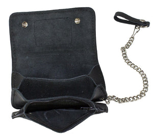 Heavy Duty American Pride Leather Motorcycle Chain Wallet - SKU LL-WALLET3-11HD-DL