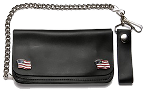 Chain Wallet with USA Flag Emblems - SKU LL-WALLET5-DL