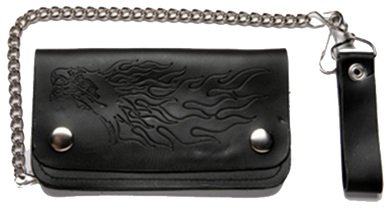 Black Leather Chain Wallet with Eagle and Flames Design - Bifold - SKU LL-WALLET6-DL