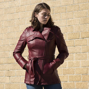 Traci - Women's Leather Trench Coat - WBL1087 - Leather Lollipop
