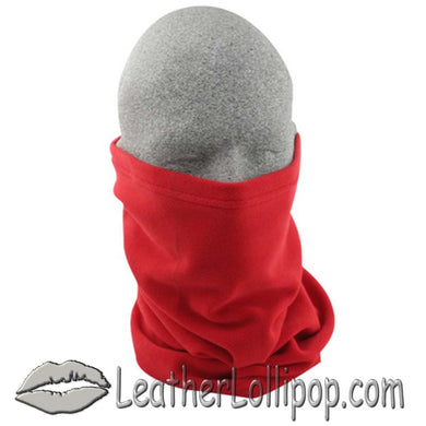Fleece Motley Tube Face Mask - Neck Warmer - Hood - Red - SKU LL-WT104-RED-TUBE-HI - Leather Lollipop