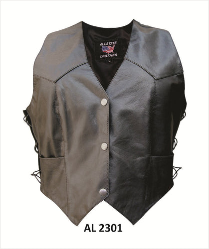 Classic Style Ladies Leather Vest with Side Laces - SKU LL-AL2301-AL
