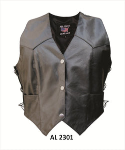 Classic Style Ladies Leather Vest with Side Laces - SKU LL-AL2301-AL - Leather Lollipop