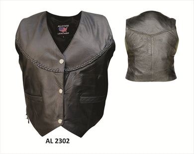 Classic Style Ladies Leather Vest with Braid Trim - SKU LL-AL2302-AL
