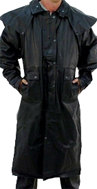 Mens Black Buffalo Leather Duster Coat - SKU LL-AL2600-AL