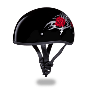 DOT Approved Motorcycle Helmet With Tribal Red Roses - SKU LL-D6-R-DH