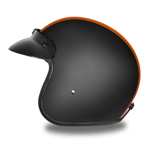 DOT Daytona Cruiser Orange Stripe Open Face Motorcycle Helmet - SKU LL-DC6-O-DH