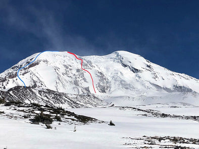 "Mt. Adams, Washington - Adams Glacier Headwall ""Ice Extension"" (IV, AI3+, 55 deg snow) 06/09/2019 - A perspective by Eric Hardson and Noah Kimmes"