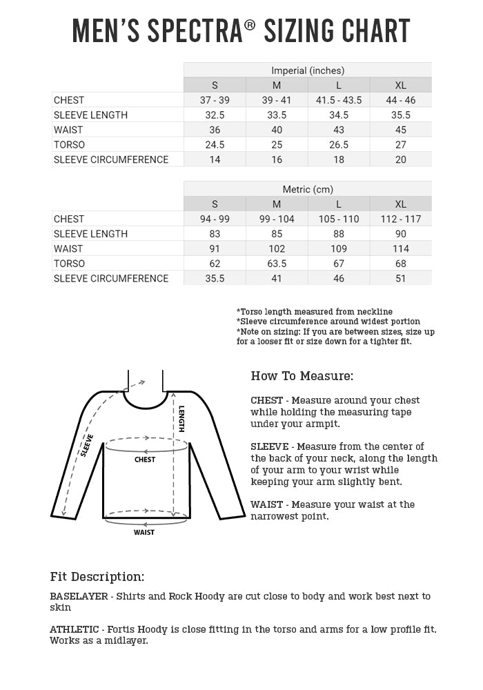 Men's Spectra Collection Sizing Chart
