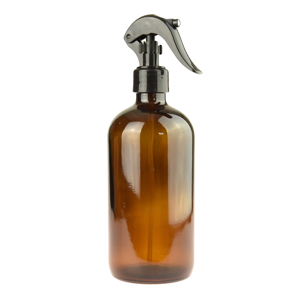 Wholesale 500 ml Amber Glass Bottle with Black Spray Trigger (case 120)