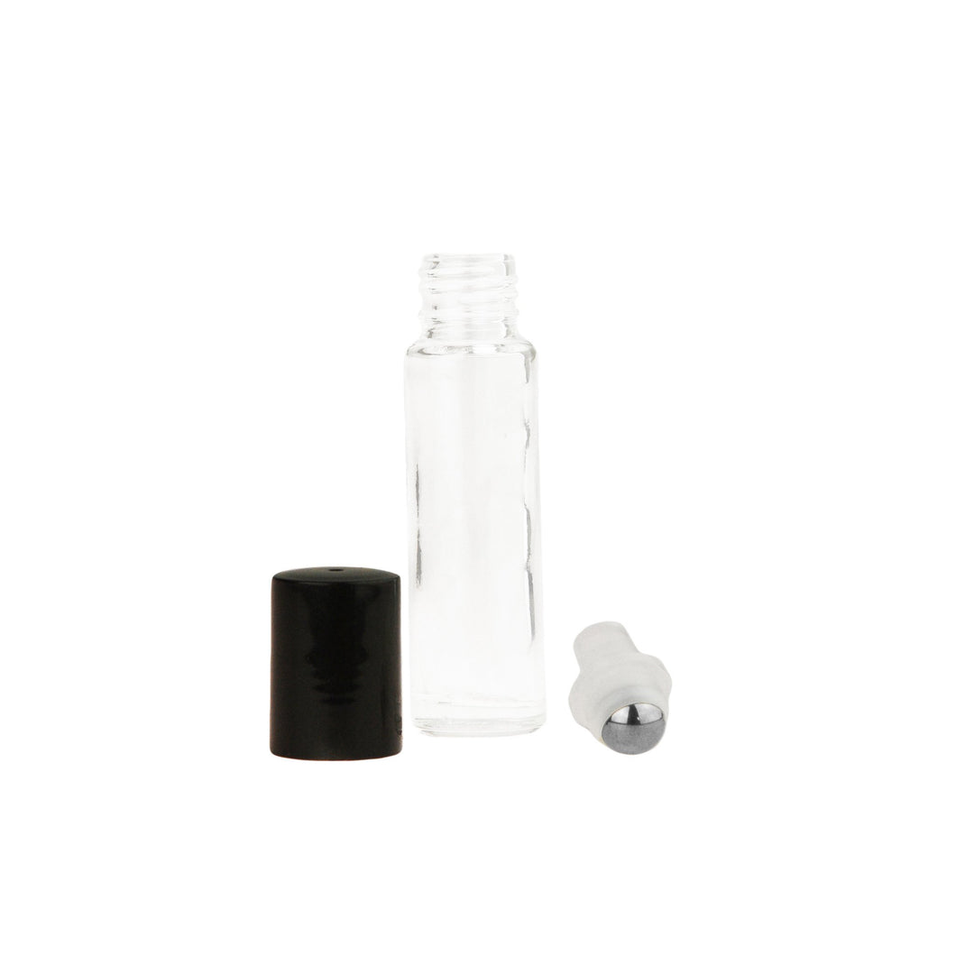 Wholesale 10 ml Clear Glass Roll-On with Black Caps. Choose from Glass or Steel Rollers (Case 600)
